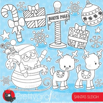 Santa's sleigh stamps commercial use, vector graphics, images  - DS924