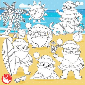 Santa vacation commercial use, Black lines, vector graphics, images  - DS1037