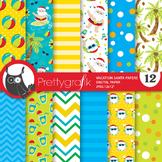 Santa vacation papers, commercial use, scrapbook papers - PS835