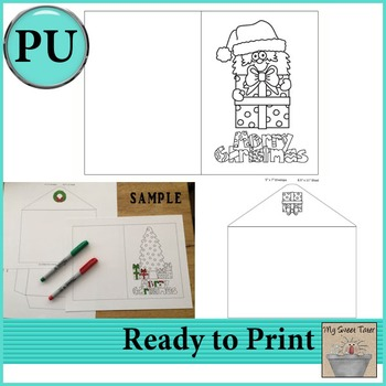 Santa with Gift Coloring Card 5x7 with envelope
