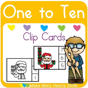 Santa with Gifts One to Ten Clip Cards