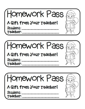 """Santa with Presents"" Homework Pass –Holiday FUN! (black line version)"