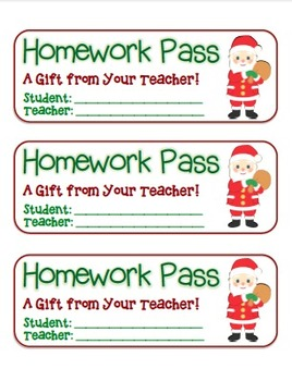 """Santa with Presents"" Homework Pass –Holiday FUN! (full color & black line)"