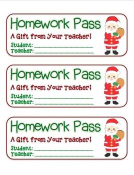 """Santa with Presents"" Homework Pass –Holiday FUN! (full color version)"