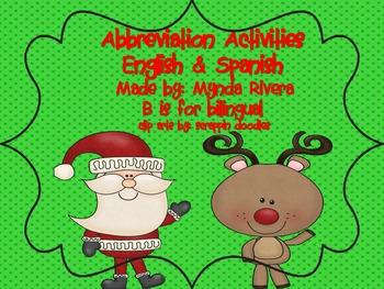 Santa's Abbreviation Activities English & Spanish