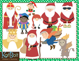 Santas Around The World Clip Art