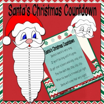 Santas Beard Christmas Countdown: Number Recognition, Cutting, and Patterning!