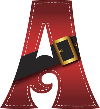 Santa's Belt Buckle Clip Art Alphabet – 71 Files 300 DPI  PNGs and Vector PDF