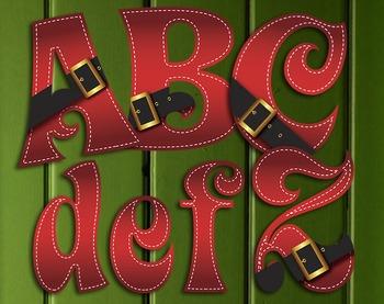 Santa's Belt Buckle Clip Art Alphabet – 71 Files 300 DPI