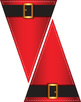 Santa's Belt Buckle Pennant • Bright Red with Golden Buckle • Printable Clip Art