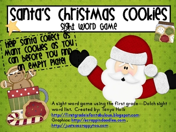 Santa's Christmas Cookie 1st Grade Sight Word Game