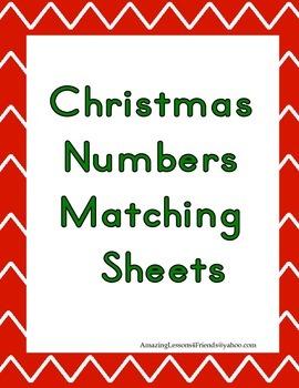 Santas Christmas Numbers matching Sheets