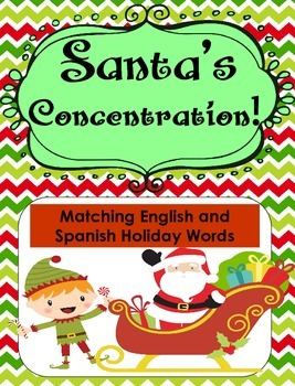 Santa's Concentration... English and Spanish Christmas Words