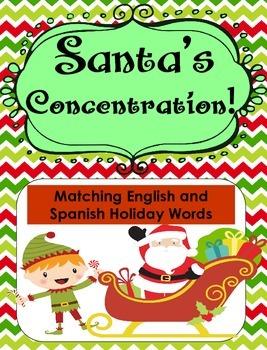 Santa's Concentration... English and Spanish Christmas Words