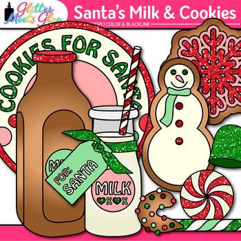 Santa's Milk & Christmas Cookies Clip Art | Snowman, Ornament, & Stocking
