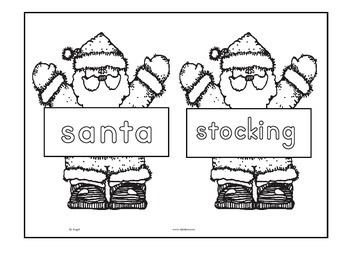 Santas Cut and Paste Word Sheets