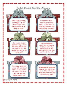 Santa's Elapsed Time Presents Task Cards