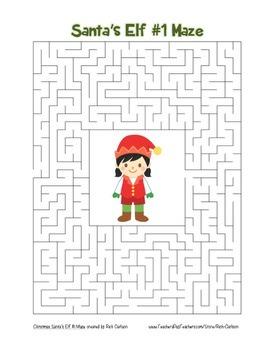"""Santa's Elf 1"" Maze! Holiday FUN! (Color and Black Line)"