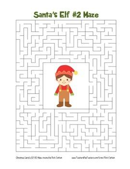 """Santa's Elf 2"" Maze! Holiday FUN! (Color and Black Line)"