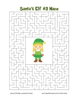 """Santa's Elf 3"" Maze! Holiday FUN! (Color and Black Line)"
