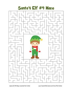 """Santa's Elf 4"" Maze! Holiday FUN! (Color and Black Line)"