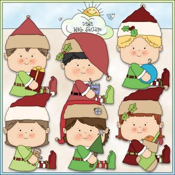 Santa's Elves Clip Art - Christmas Clip Art - CU Clip Art & B&W