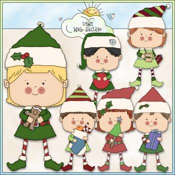 Santa's Elves Clip Art 2 - Christmas Clip Art - CU Clip Art & B&W