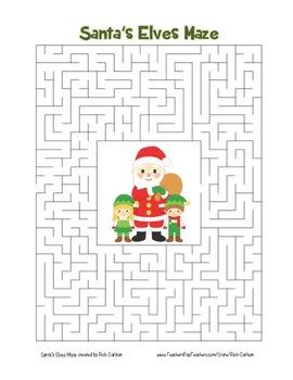 """Santa's Elves"" Maze! Holiday FUN! (Color and Black Line)"