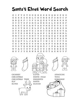 """Santa's Elves"" Word Search – Holiday Fun! (Black Line Version)"