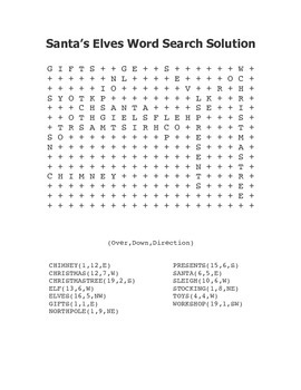 """Santa's Elves"" Word Search – Holiday Fun! (Color and Black Line)"