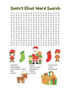 """""""Santa's Elves"""" Word Search – Holiday Fun! (Color and Black Line)"""