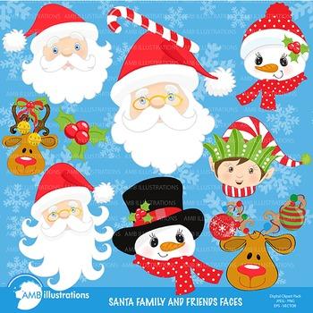 Christmas clipart, Santas Friends & Family Faces clipart AMB-197