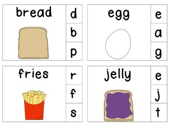 Grocery Food Clip & Learn Beginning Sounds