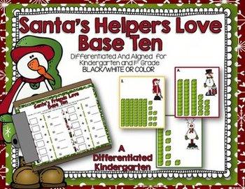 Santa's Helpers Love Base Ten Write the Room-Differentiate