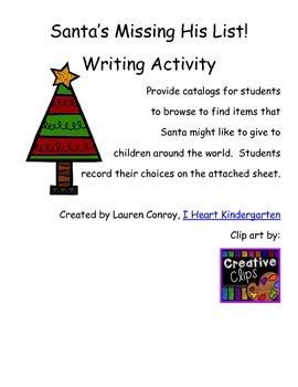 Santa's Missing His List Writing Activity