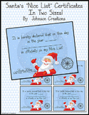 """Santa's """"Nice List"""" Certificates In Two Sizes!"""