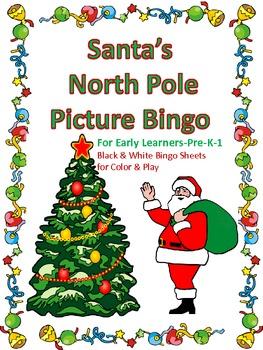 Santa's North Pole Bingo for Early Learners-Prek-1