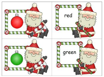 Santa's Ornaments Colors and Color Words Multiple Use Cards