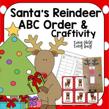 Santa's Reindeer ABC Order and Craftivity