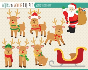 Santa's Reindeer Clip Art - color and outlines
