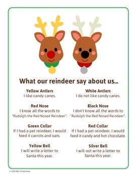 Christmas Reindeer Math Activity - Glyph Craft with Worksheets