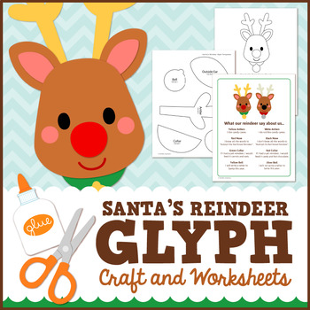 Christmas Reindeer Glyph Craft and Worksheets