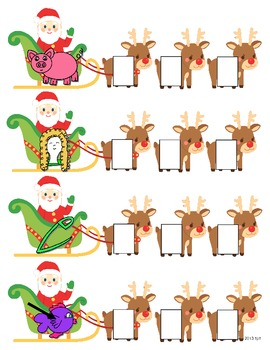 Santa's Sleigh CVC Words - Literacy Center and Worksheets