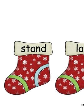 "Santa's Stocking Sort - A ""st"" read the room activity"