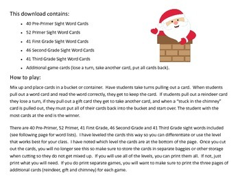 Santa's Stuck!  A Christmas Sight Words Card Game With All 220 Sight Words!