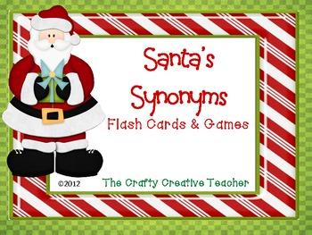 Santa's Synonym Bundle~Flashcards, Games, & Poster