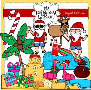Santa's Tropical Christmas Clipart