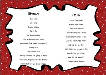 No Prep Christmas First Grade Math & Literacy Printables