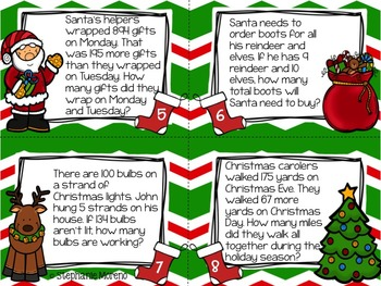"Santa's ""Wordshop"" Holiday Multi Step Word Problem Task Cards"