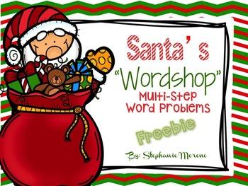 "Santa's ""Wordshop"" Holiday Multi Step Word Problem Task Cards"